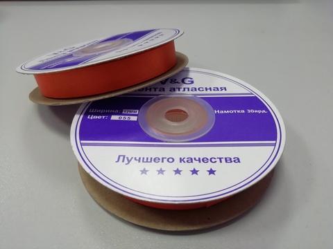 Лента атласная Терракотовая 12 мм, 27м