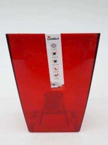 """Кашпо пластик """"Финезия"""" 125x125 мм, красное прозрачное"""