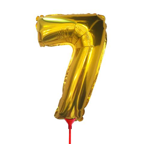 Цифра 7 (35 см) на палочке золотая