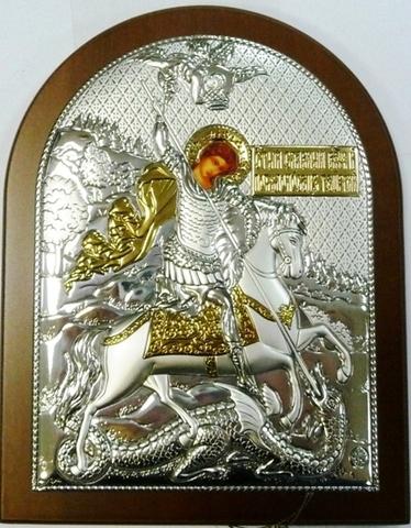 Серебряная с золочением икона Святого Георгия Победоносца 16х12см