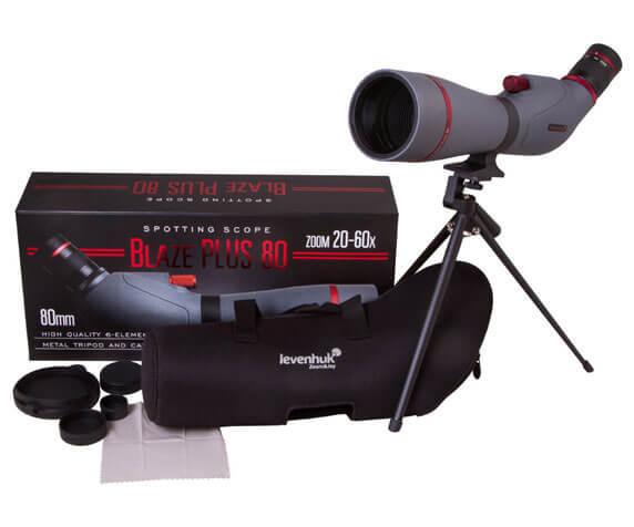 Комплект поставки зрительной трубы Levenhuk Blaze PLUS: штатив, футляр, крышки, салфетка