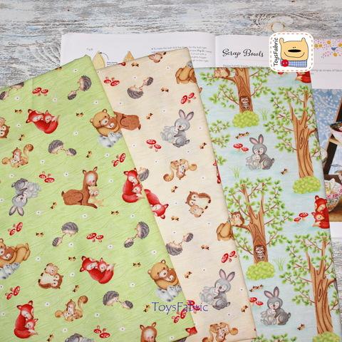 Ткань для пэчворка 20951 (лесные звери на бежевом) 45х55см