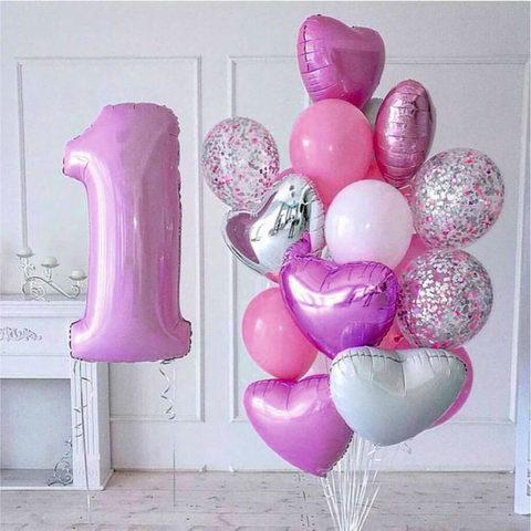 Фонтан из шаров Розовый с цифрой