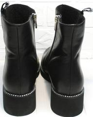 Женские осенние полусапожки кожаные Jina 6845 Leather Black.