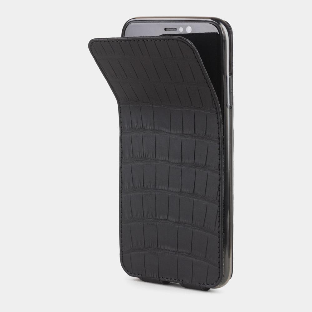 Чехол для iPhone XS Max из натуральной кожи крокодила, цвета черный карбон