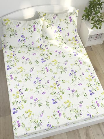 Простынь на резинке  -Душистый горошек- натяжная 140х200х26 см 2-спальная