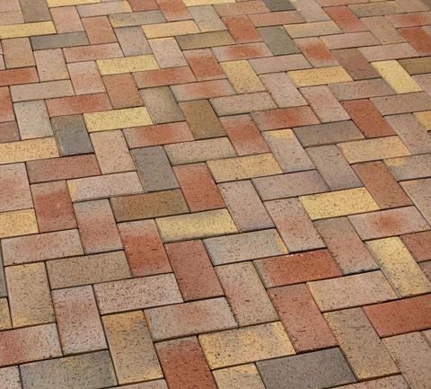 Feldhaus Klinker - P415KDF, Gala solea, красный-пестрый + желтые кирпичи, 200x100x52 - Клинкерная тротуарная брусчатка