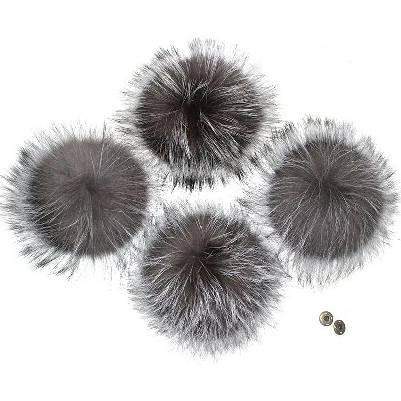 Помпон на кнопке из натурального меха лисы 15-18 см.