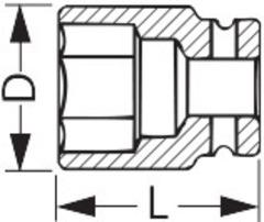 Торцевая головка 6-гранная IMPACT, 1/2 дюйма