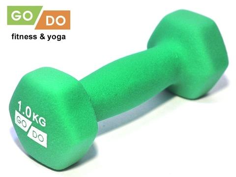 Гантель GO DO в виниловой матовой (неопреновой) оболочке.  Вес 1 кг. (Зеленый), пара (33549)