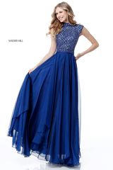 Sherri Hill Синее платье в пол