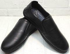 Модные слипоны туфли мужские летние смарт кэжуал для мужчин Ridge Z-291-80 All Black.
