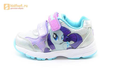 Светящиеся кроссовки для девочек Пони (My Little Pony) на липучках, цвет серебряный, мигает картинка сбоку. Изображение 3 из 15.