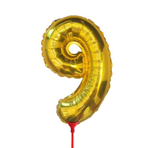 Цифра 9 (35 см) на палочке золотая