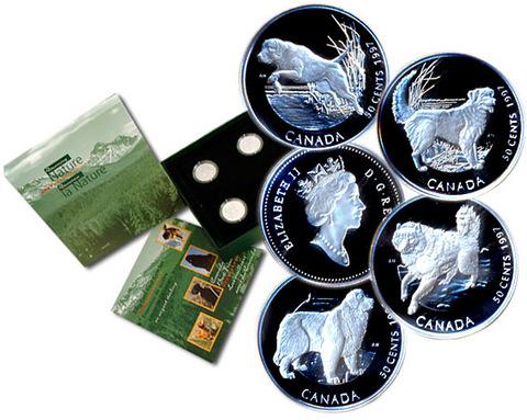 Набор из 4 монет Канада 50 центов 1997 год. Канадские собаки. Породы собак. Серебро