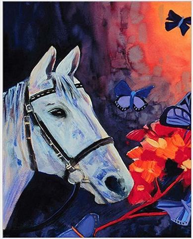 Алмазная Мозаика 40x50 Белый конь и бабочки