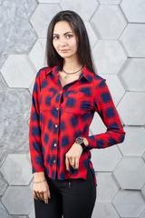 Мішель. Молодіжна сорочка в клітку. Червоно-синій