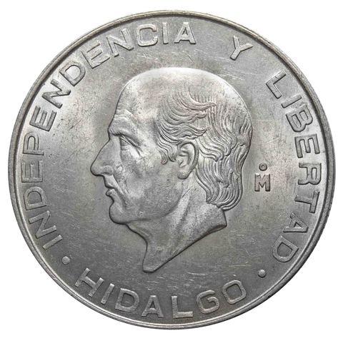 5 песо. Мигель Идальго. Мексика. 1957 год. Серебро. AU