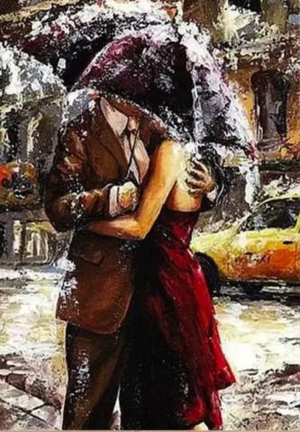Алмазная Мозаика 40x50 Поцелуй под зонтом (арт. SGJ70652)