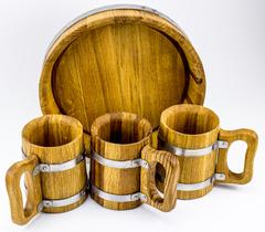 Набор пивной из 3-х дубовых кружек, с подносом, фото 2