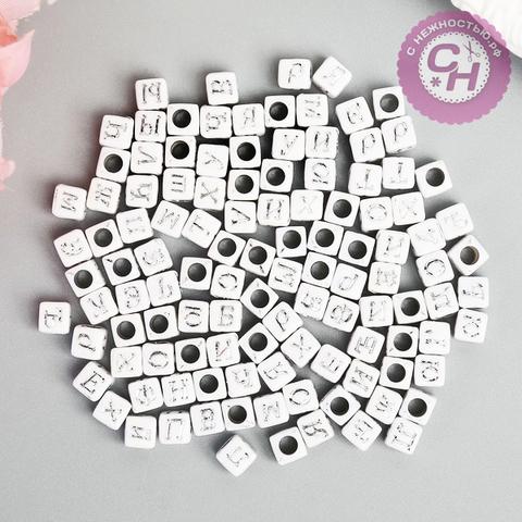 Бусины с буквами квадратные с цветом, 0,6*0,6 см, 20 гр.