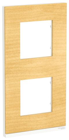 Рамка на 2 поста, вертикальная. Цвет Клен/белый. Schneider Electric Unica Pure. NU6004V83