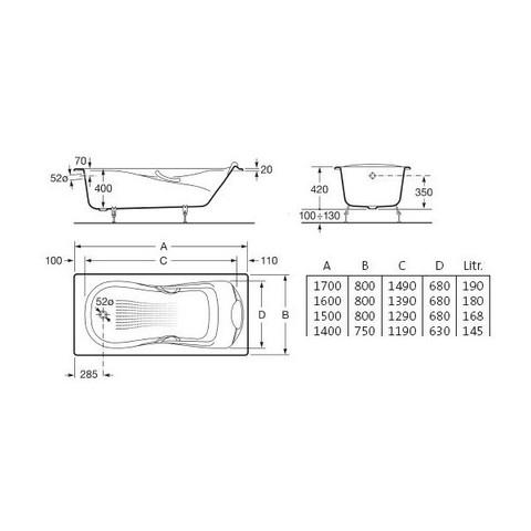 ванна чугунная Roca HAITI с ручками и ножками /170х80/ (бел)