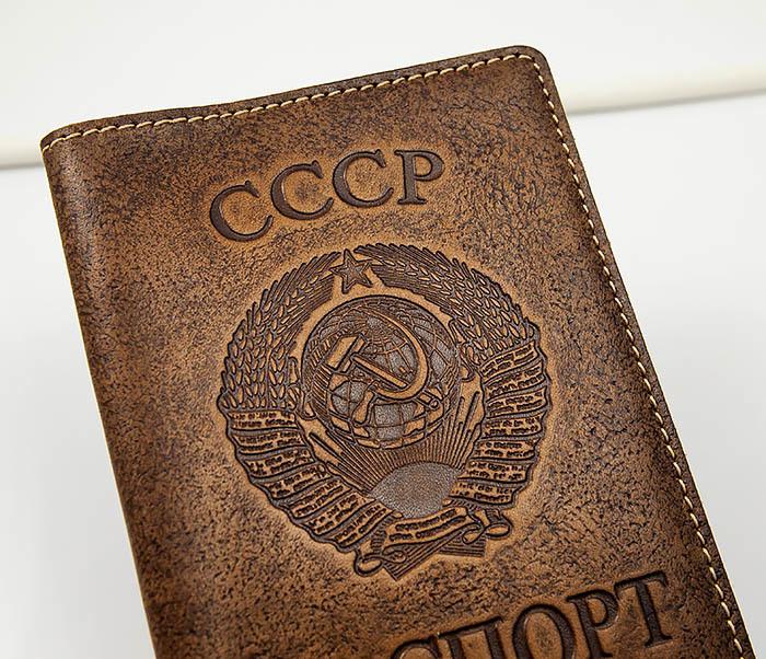 BY14-25-04 Кожаная обложка для паспорта «СССР» с гербом фото 02
