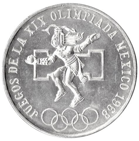 25 песо 1968 год XIX Олимпийские игры в Мехико, Мексика. XF-AU