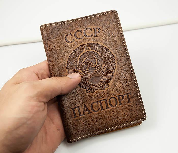BY14-25-04 Кожаная обложка для паспорта «СССР» с гербом фото 03