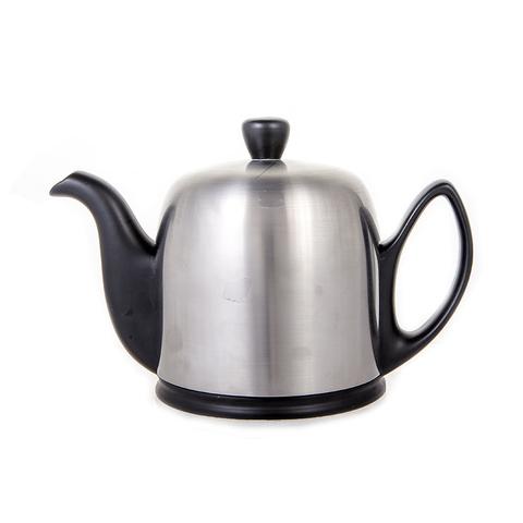 Фарфоровый заварочный чайник на 4 чашки с крышкой, черный, артикул 211992.