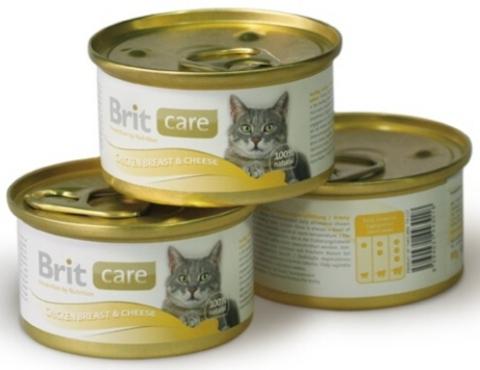 3018 Brit Care Консервы д/кошек Куриная грудка с сыром 80гр*48