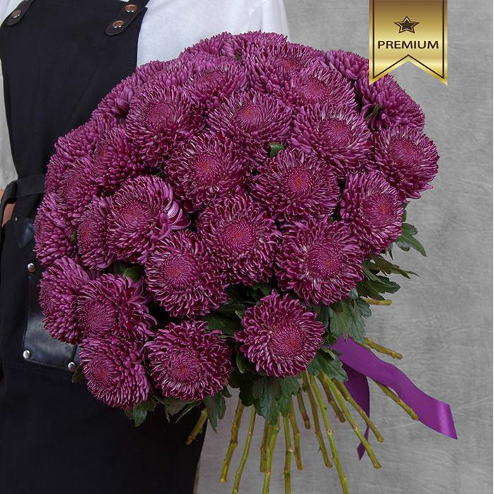 Купить букет 35 хризантем Бигуди Пепл в Перми
