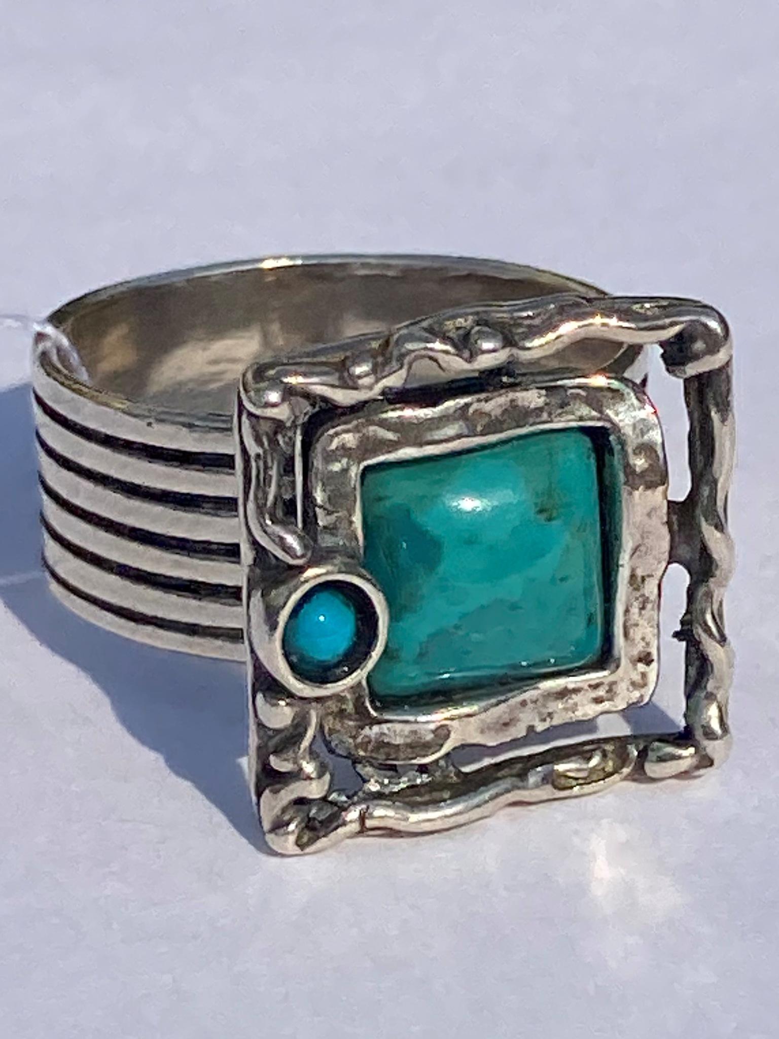 Бирюза 371 (кольцо из серебра)