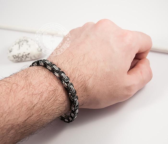 BM409 Стальной браслет из черных и серебристых звеньев (22 см) фото 09
