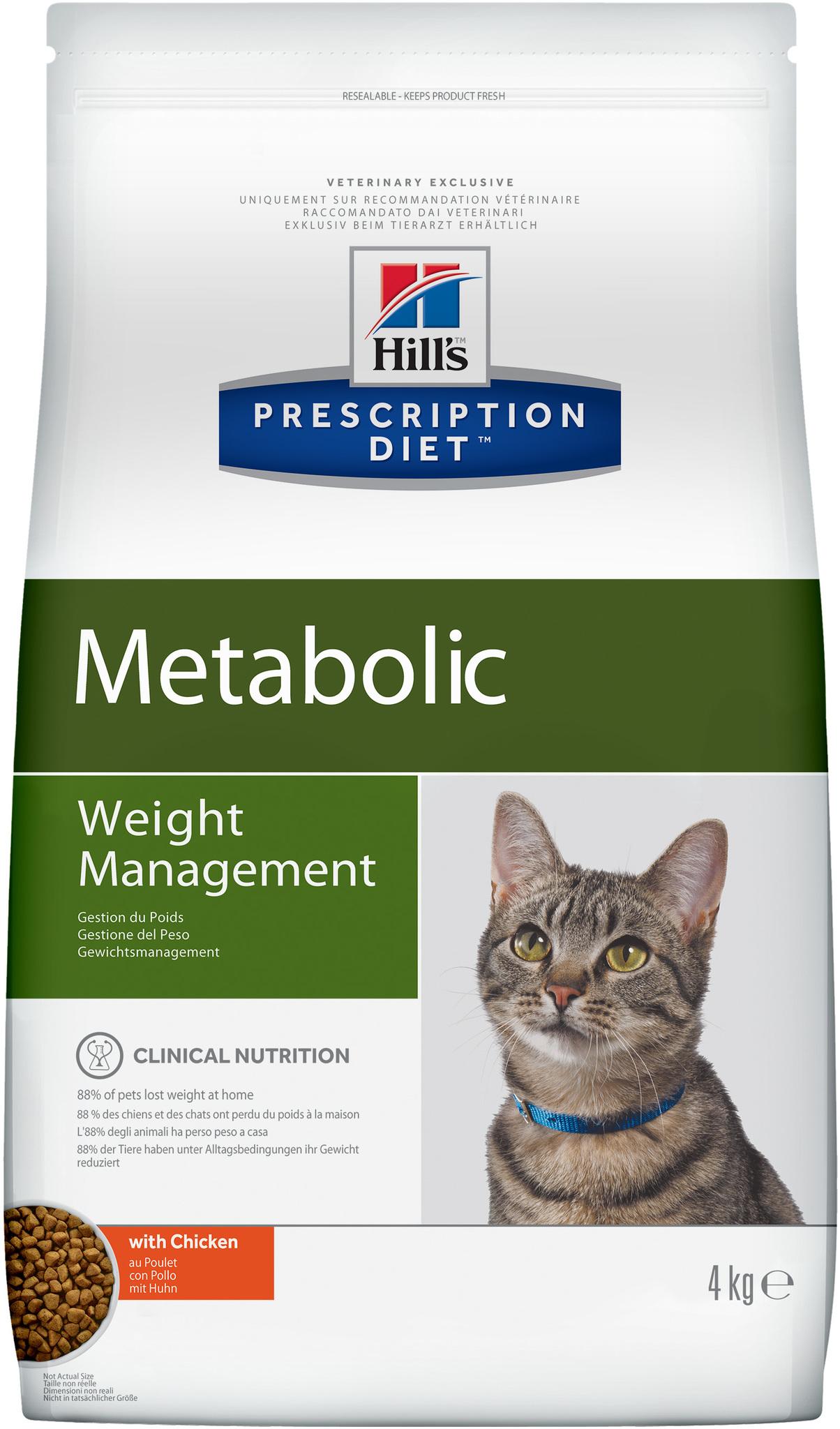 купить хиллс Hill's™ Prescription Diet™ Feline Weight Managemen wiht Chicken сухой корм для взрослых кошек, диетический рацион для коррекции веса 4 кг