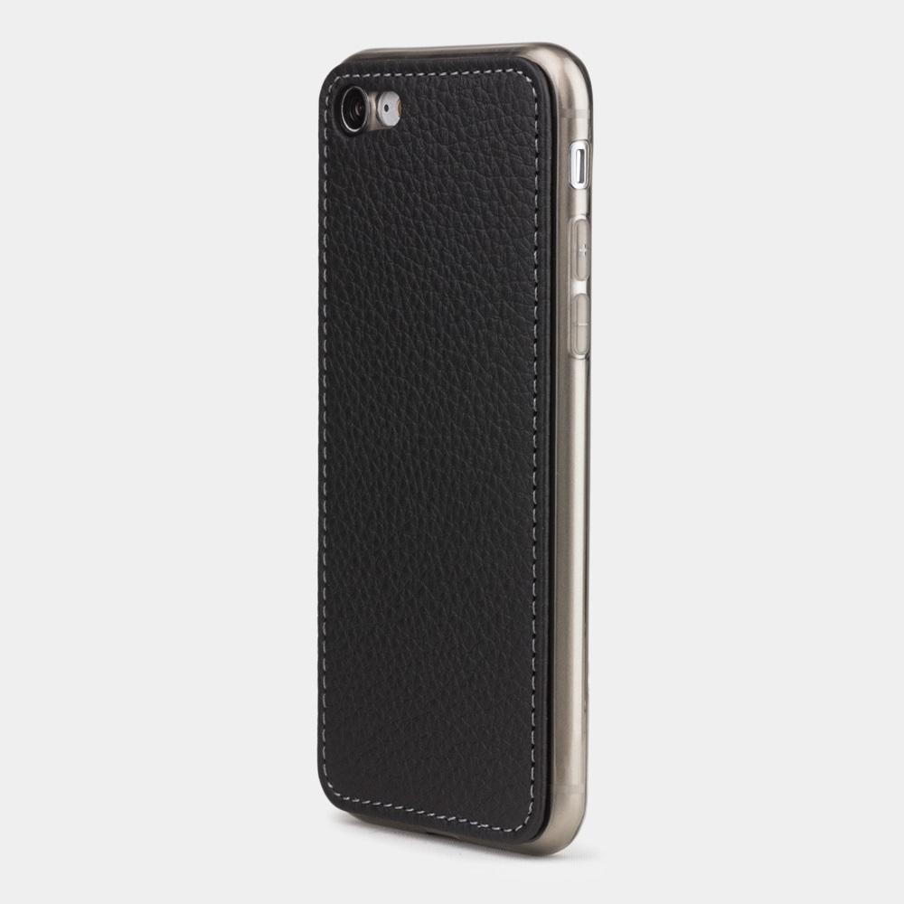 Чехол-накладка для iPhone SE/8 из натуральной кожи теленка, цвета черный мат