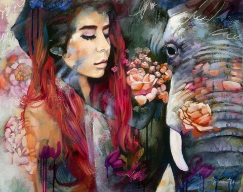 Алмазная Мозаика 40x50 Девушка и слон