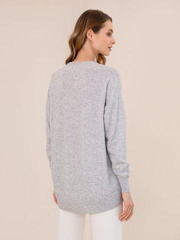 Женский джемпер светло-серого цвета из шерсти и кашемира - фото 4