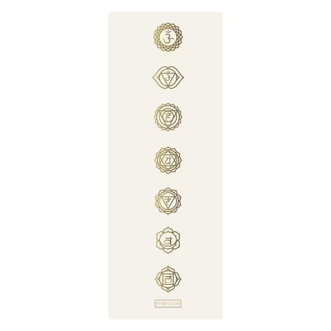 Каучуковый йога коврик Chakras Gold Pro White 185*68*4,5 см