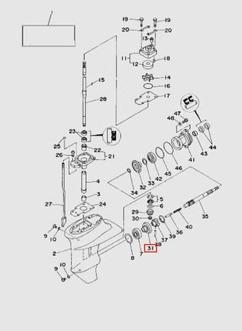 Шестерня передней передачи  для лодочного мотора T15, OTH 9,9 SEA-PRO (16-31)