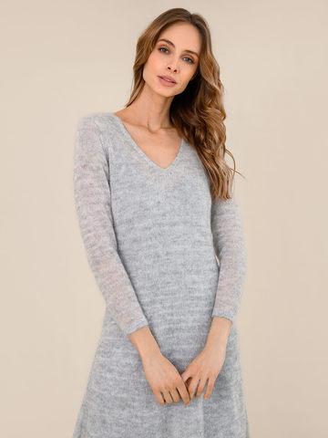 Женское платье светло-серого цвета из мохера - фото 3