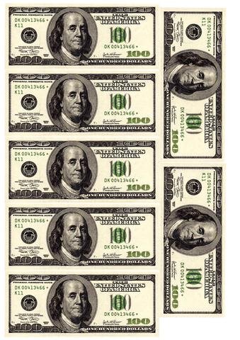 Печать на сахарной бумаге, Набор Купюра 100 долларов 4