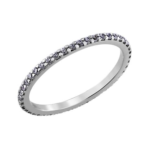 94010609 -  Кольцо тонкая дорожка из серебра с фианитами