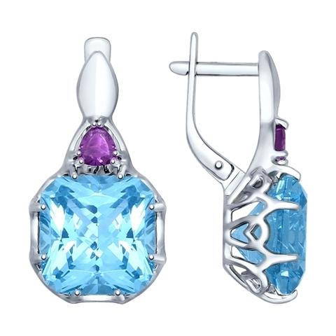 92021366- Серьги из серебра с голубыми ситаллами и аметистами