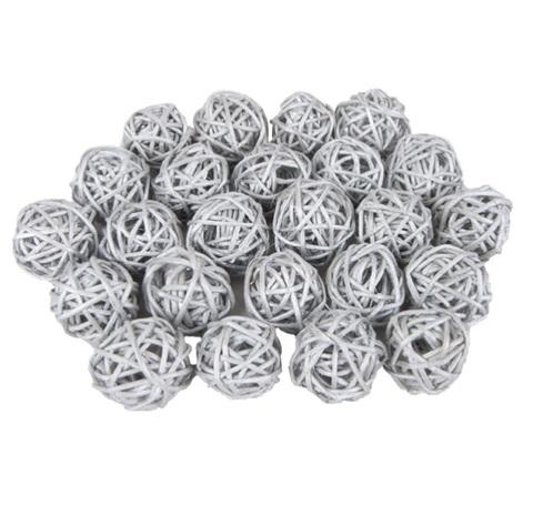 Плетеные шары из ротанга (набор:24 шт., d3 см, цвет: серебро)