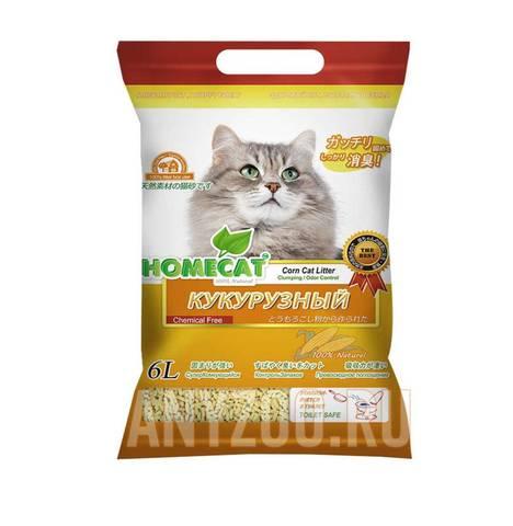Homecat Эколайн наполнитель кукурузный комкующийся 6л