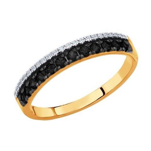 7010056 - Кольцо из золота с бесцветными и чёрными бриллиантами