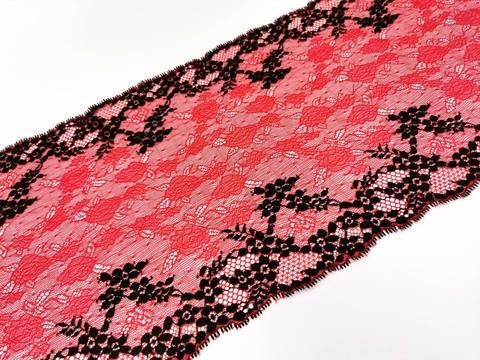 Эластичное кружево, ОПТ черный и темно-красный, 22см (Артикул: EK-1014), м