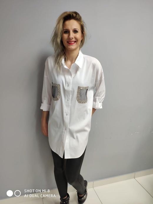 Блузка Manila рубашка карманы белая